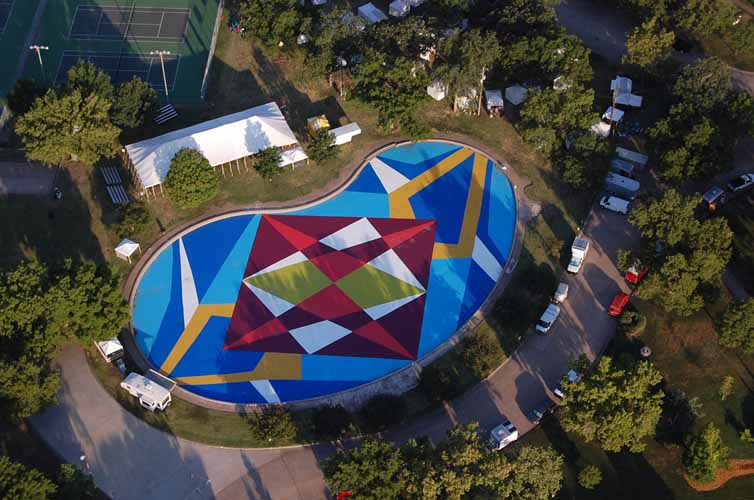 Aerial view of pool.