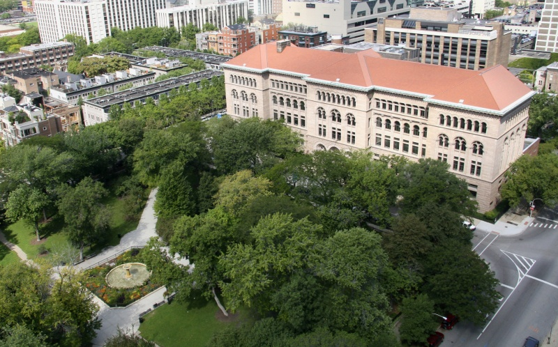 Aerial view of the library, facing Washington Square Park. Image obtained from the Newberry Library.