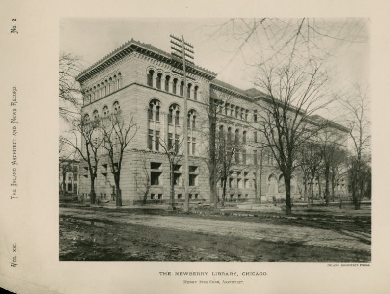 Newberry Library shortly after its completion in 1893. Image obtained from the Newberry Library.