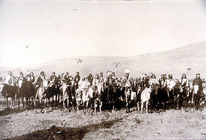 Chief Joseph the leader of the Nez Perce Native Americans and his men