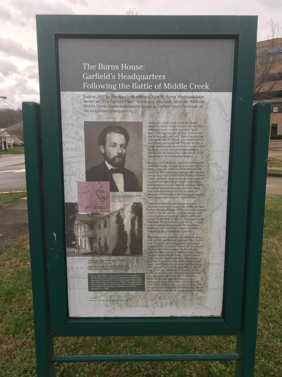 The front of the marker for The Burns House: Garfield's Headquarters Following the Battle of Middle Creek. It contains information and photos pertaining to the history of the house, including its owner John Burns.