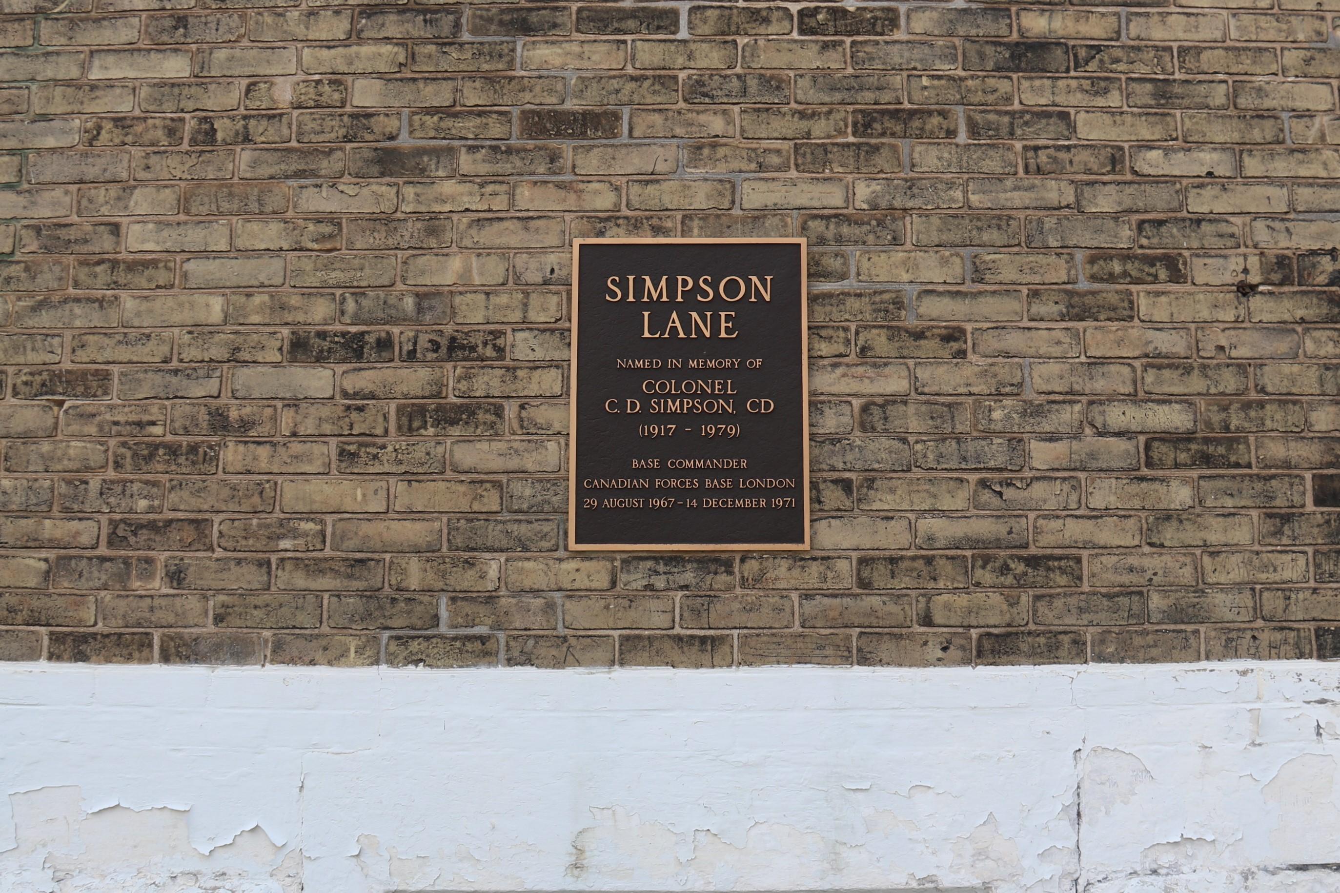 Simpson Lane Plaque