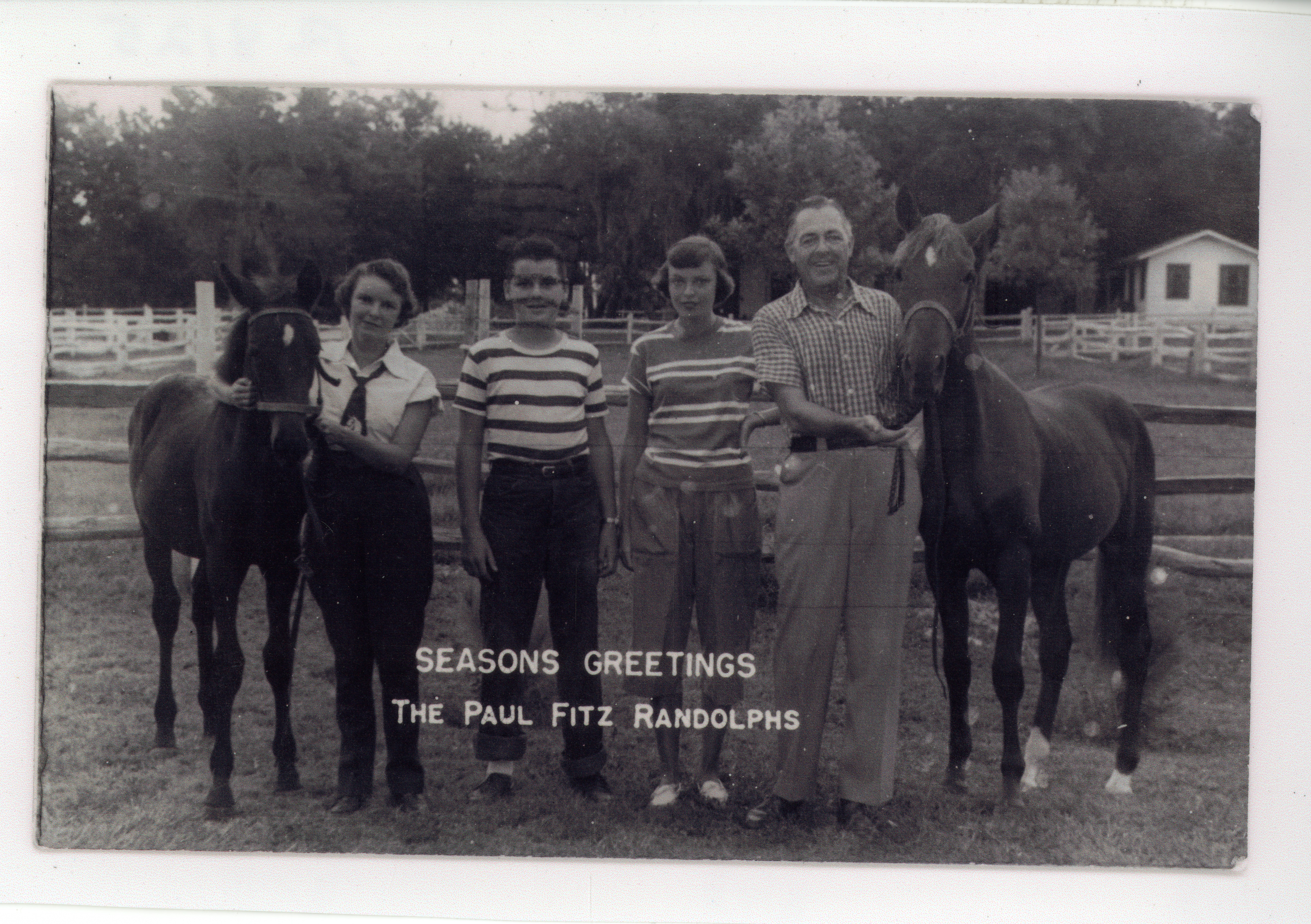 Paul Fitz Randolph, family, and horses at Randolph Farms, Largo, Florida, circa 1951.