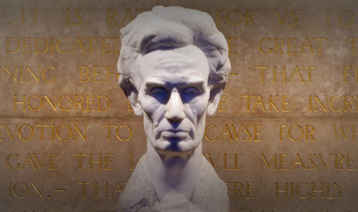 The centerpiece of the shrine is this bust of Lincoln made by sculptor George Grey Bernard. It was one of only two copies made; the second has since been lost. Image obtained from the Lincoln Memorial Shrine.