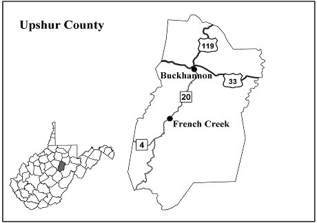 A map of West Virginia with Upshur county highlighted to show geographical relation within state.