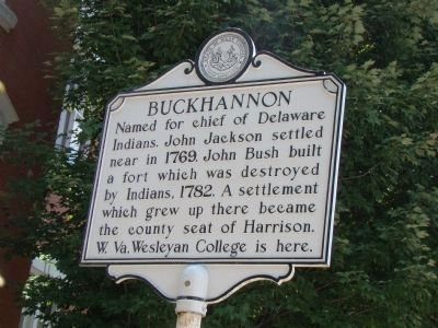 The Buckhannon/Frontier Days marker notably features a different inscription on each side. Image obtained from the Historical Markers Database.