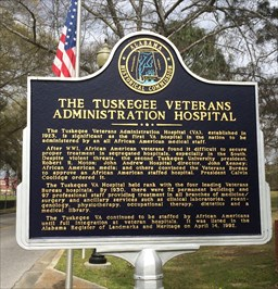 This historical marker outside of the Tuskegee Hospital offers a brief history