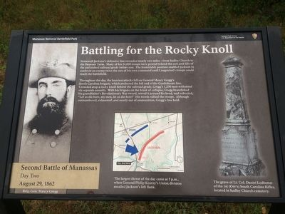 By J. Makali Bruton, September 4, 2015 Depicts the marker for this site which holds information about the battle.