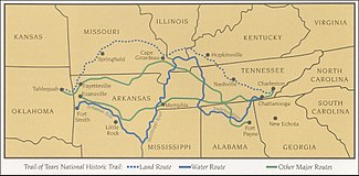 Map of the route the Cherokee Indians took during the removal period