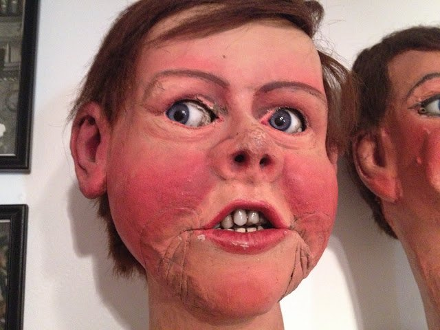 This 1800s dummy was made with glass eyes, human hair, and real teeth. 