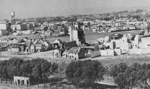 An aerial shot of the Culver Studios from the 1930s.