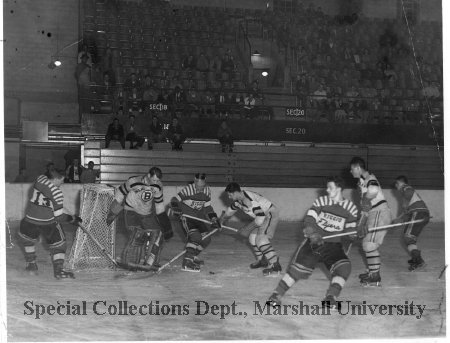 Ice hockey match at the Field House, 1950's