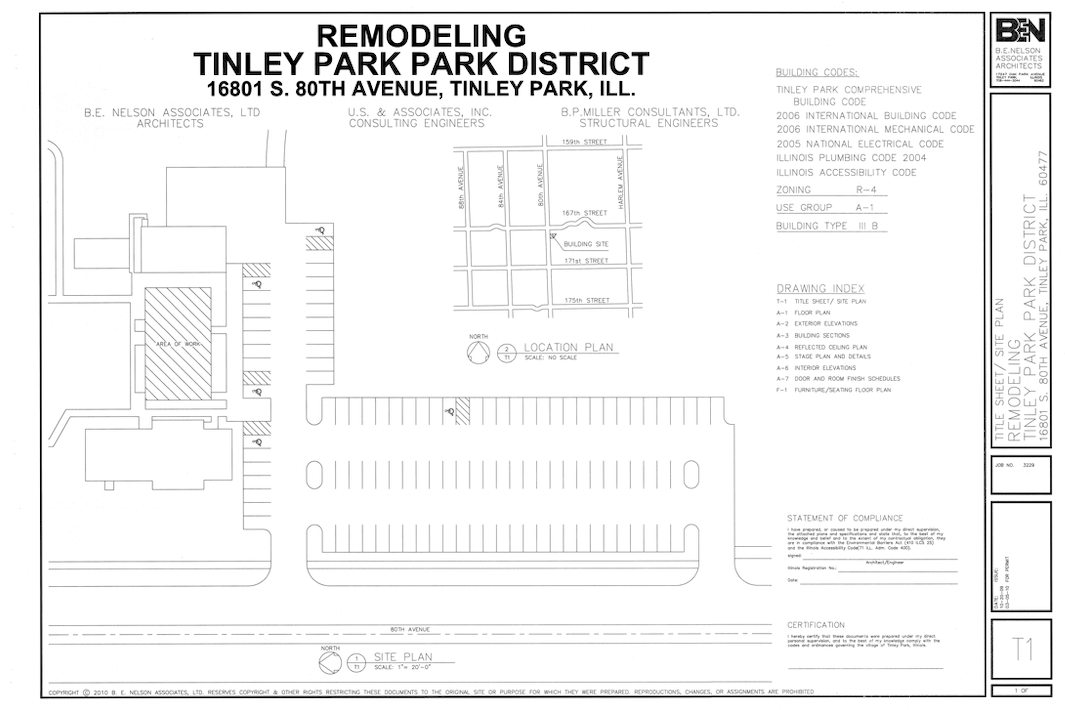 Image of the original architectural drawings of the TPPAC remodel.