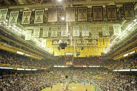 Here is the inside of the Boston Garden. The Celtics are currently playing at home in front of a packed crowd. The many championship banners hang in the rafters.