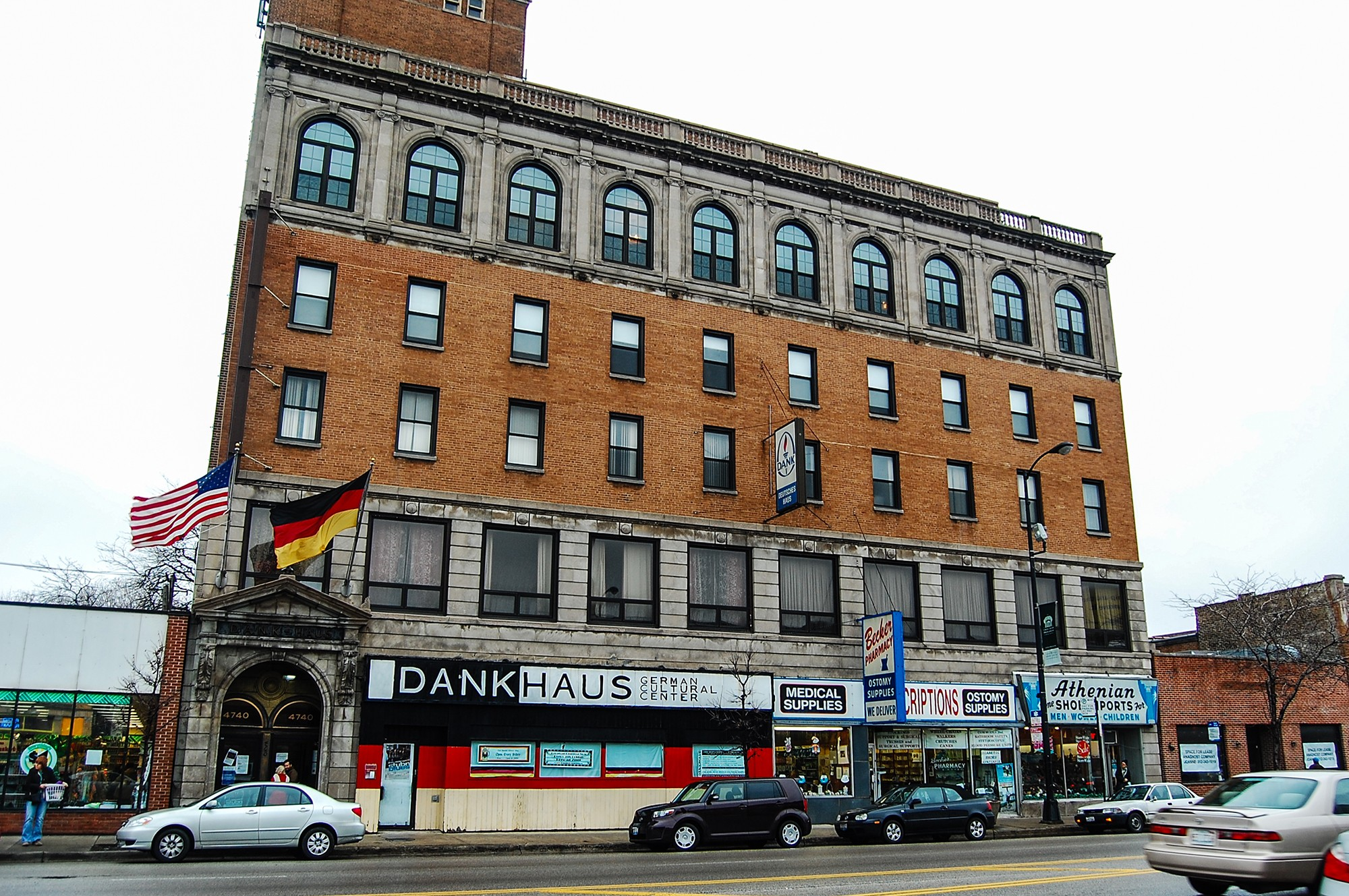 DANK Haus has occupied this building in Lincoln Square since 1967. Before that it was home to a fraternal organization. Image obtained from Open House Chicago.