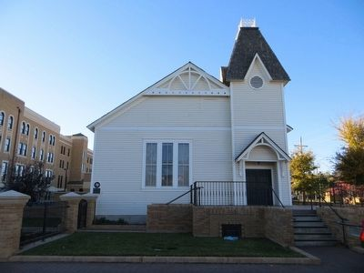 The original church building, constructed in 1890, was moved to this spot in 1964.