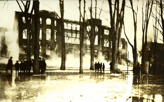 Cortland Normal School--During the 1919 Fire (courtesy of the SUNY Cortland College Archive)