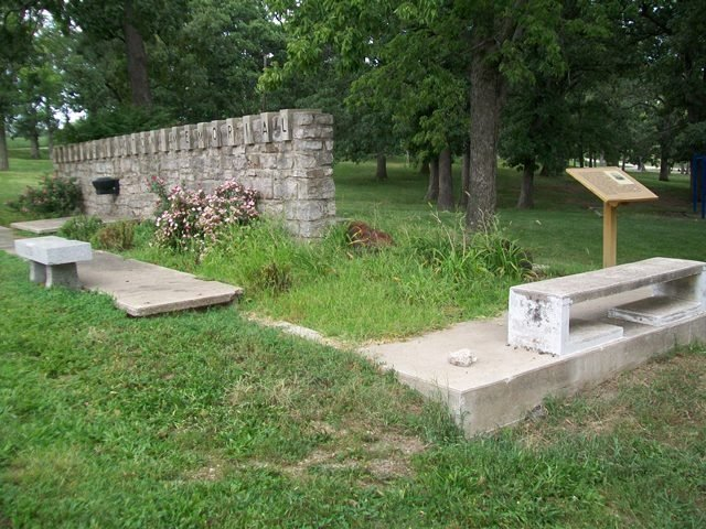Several historical markers related to the battle have been placed in the area around the Adair Cabin. Photo by William Fischer, Jr. August 31, 2013