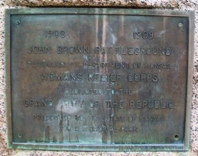 This marker was dedicated in 1909 and made possible by the efforts of the Kansas Woman's Relief Corps. Photo by William Fischer, Jr. August 31, 2013