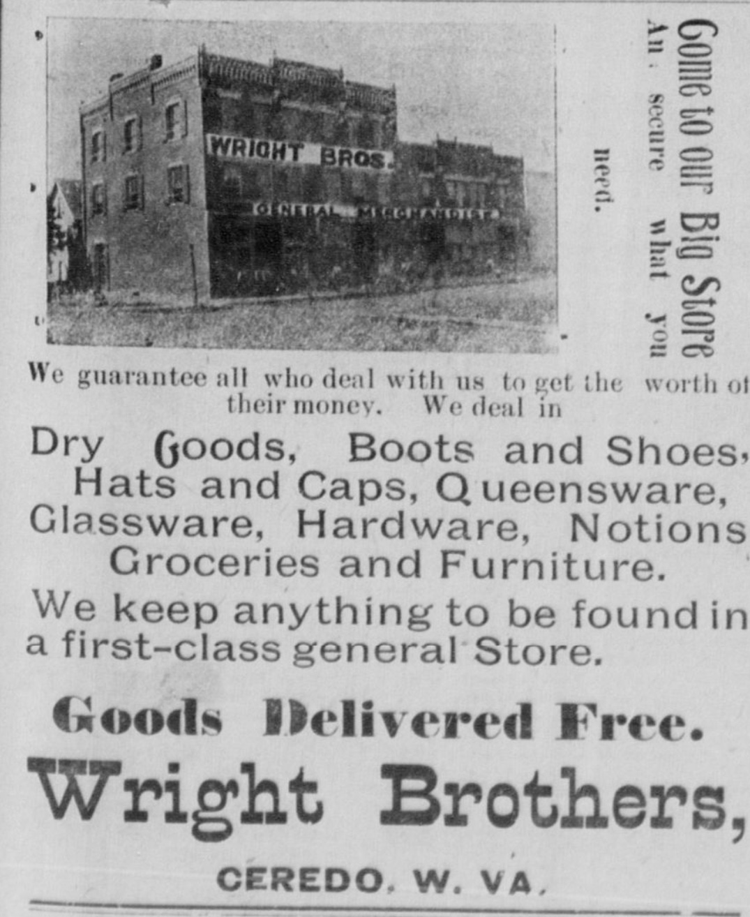 Early advertisement for the Wright Brothers Store in the Ceredo Advance newspaper, June 1898.