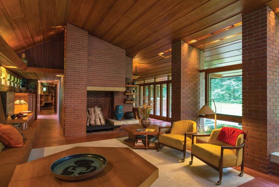 The living area within the home with its Wright designed interior.