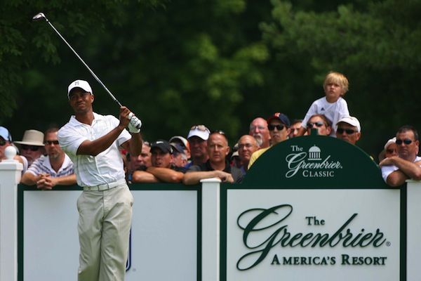 Tiger Woods competing at the Greenbrier Classic