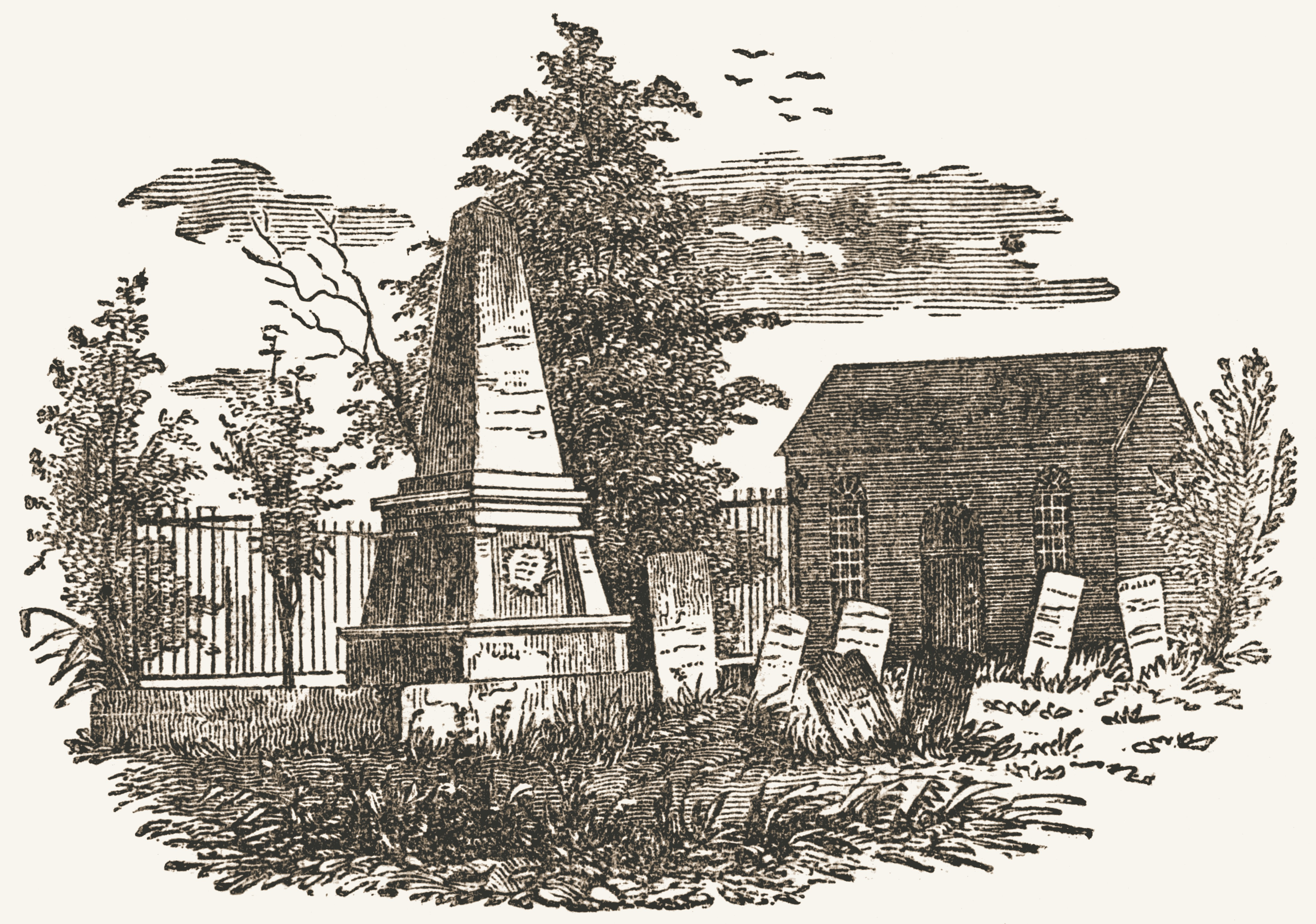 Old St. Peter's Church and monument at the grave of John Paulding.