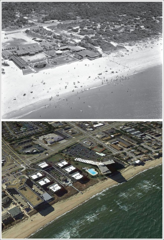 Top: Aerial view of Seaview Beach. Sargeant Memorial Collection, Norfolk Public Library. Below: Google Earth, 2017.