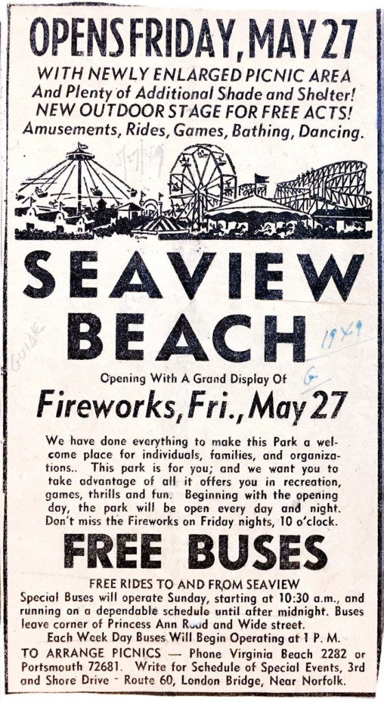 An advertisement for Seaview.  Norfolk Journal and Guide, June 23, 1947.