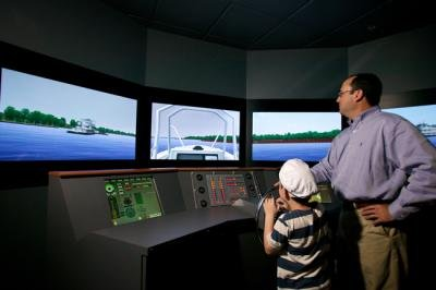 The center's simulator, the first of its kind to be open to the general public, was created by the same company that builds simulators for the maritime industry and navies around the world. Credit: River Discovery Center