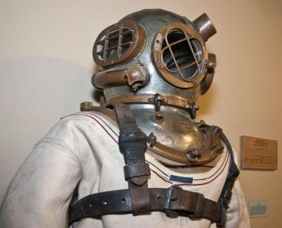 The Mark V diving suit, used to perform maintenance on our nations dams, was used as late as the 1980's. Donated by the US Army Corps of Engineers. Credit: River Discovery Center