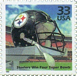 "As part of the ""Celebrate the Century"" stamp series, the USPS issued a commemorative stamp celebrating the Pittsburgh Steelers' four Super Bowl championships during the 1970s. The series of stamps were released in 1999."