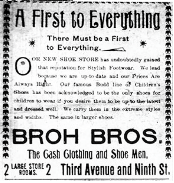 Ad for Broh Brothers Clothing, 1897