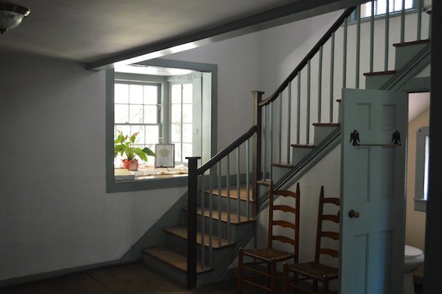 Stairs with bay window.