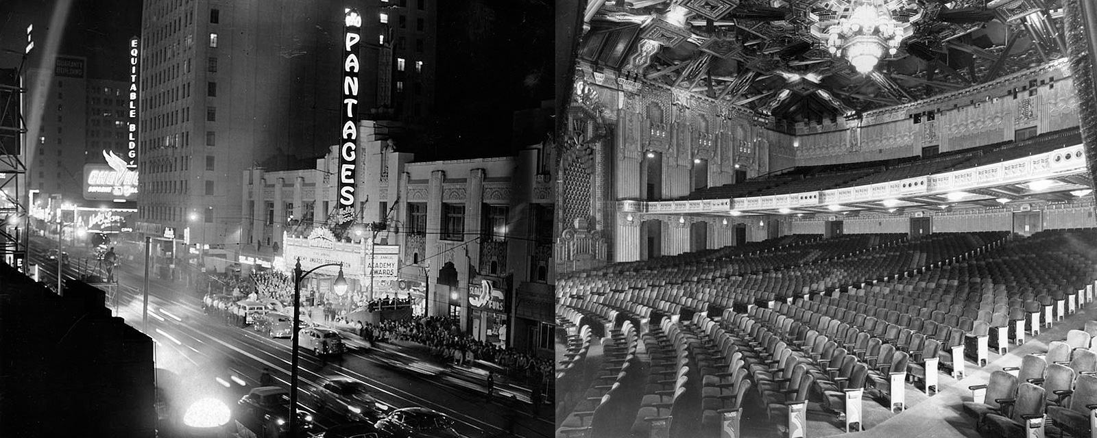 The Pantages Theatre in the 1950s. Photos from the Pantages website.