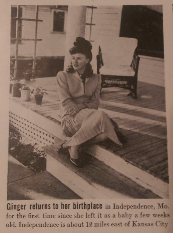 Photo of Ginger visiting her childhood home. Life Magazine March 2, 1942, (Vol. 12, No. 9) (Time, Inc.)