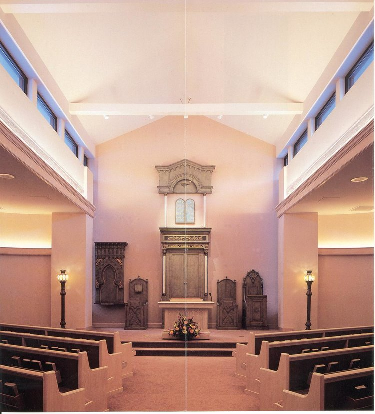 View inside of the Feiner Family Memorial Chapel. A few of the old furniture from the Koln synagogue can be seen along the back wall.