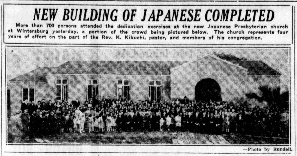 Wintersburg Japanese Church building completed, the third of the three structures associated with the Wintersburg Japanese Mission. Source: Santa Ana Register, December 10, 1934.