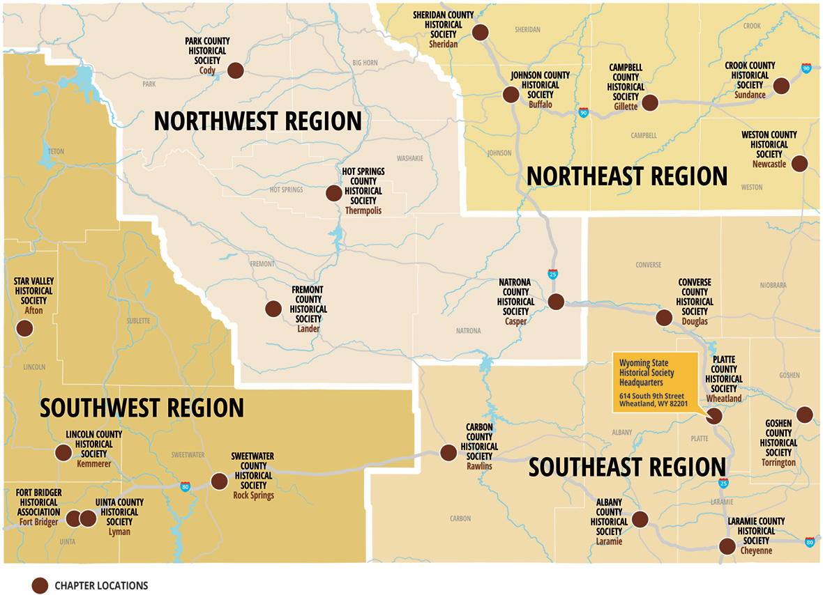 This map shows this 21 Wyoming Historical Society chapters.