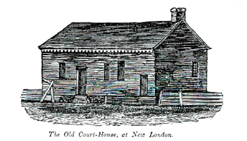 An early sketch of the original courthouse. Friends of New London library. Used by permission.