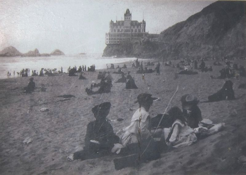 The Cliff House and Seal Rocks, Looking North From Ocean Beach (this image appears on the historical marker)