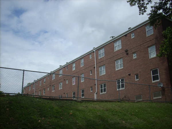 These apartments are the Bedford Dwellings housing project built on the site where the stadium once stood.
