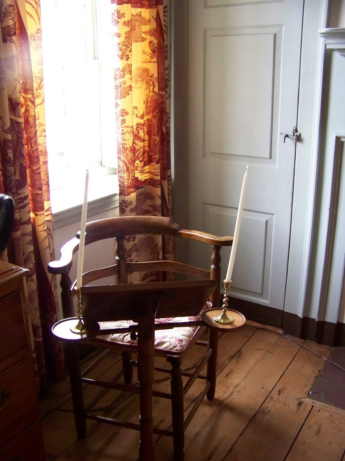 A chair and music stand in the Victorian Music Room.