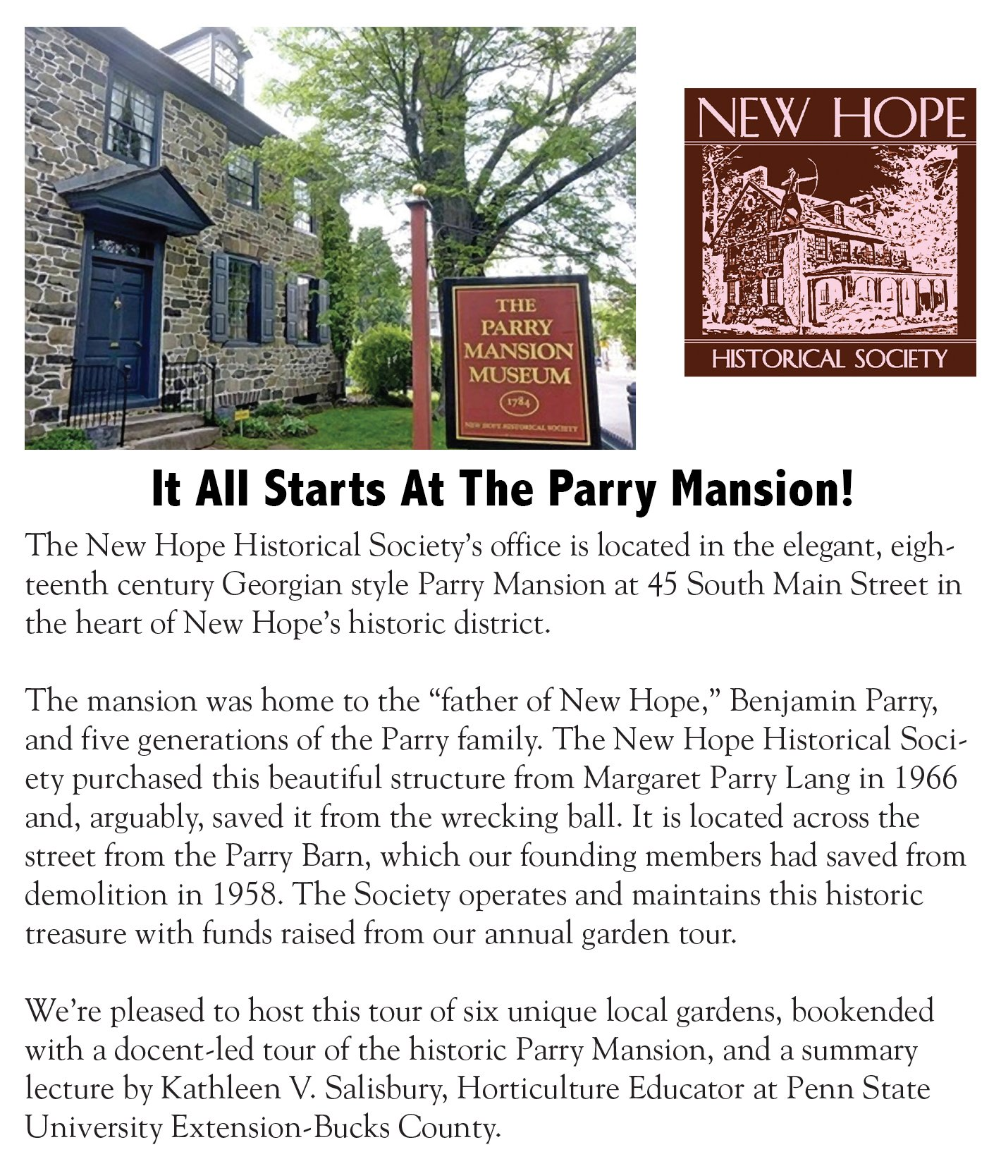 A flyer advertising the historical society's annual garden tour at Perry Mansion.