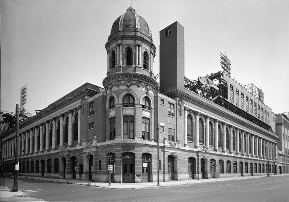 View from the NE corner of 21st and Lehigh of Shibe Park's iconic facade. US Library of Congress photo.