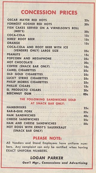 1954 Shibe Park Concession Price List