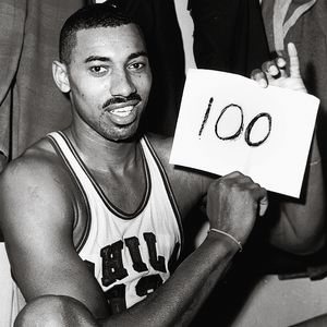 Wilt Chamberlain following his historic 100-point game.