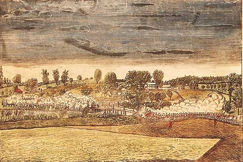 The battle at the North Bridge as engraved by Amos Doolittle in 1775