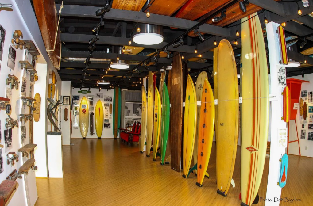 An exhibit inside the International Surfing Museum, Huntington Beach, California. Source: Don Bigelow, 2018.