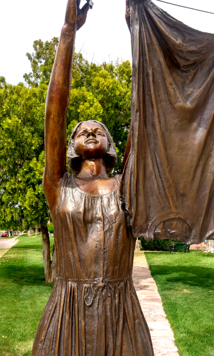 """Rag Town Goddess"" bronze sculpture at Frank Crowe Memorial Park. (Source: M. Urashima, April 2018)"